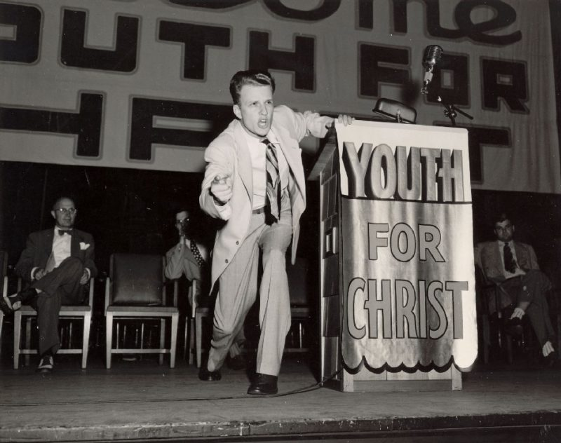 Billy Graham preaching at Youth For Christ event